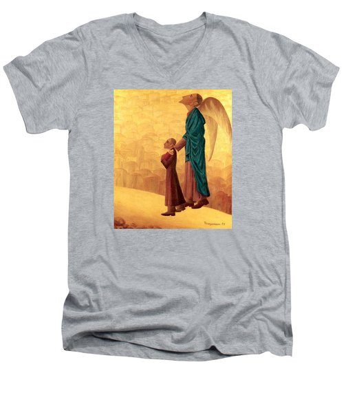 Boy Leading The Blind Angel Men's V-Neck T-Shirt