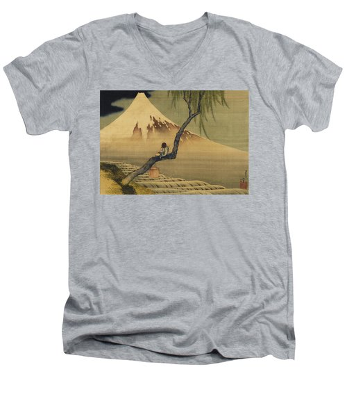 Boy Viewing Mount Fuji Men's V-Neck T-Shirt