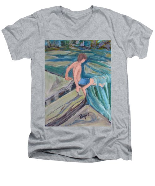 Boy With Foot In Falls Men's V-Neck T-Shirt by Betty Pieper