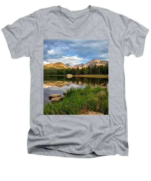 Brainard Lake Reflections Men's V-Neck T-Shirt by Ronda Kimbrow