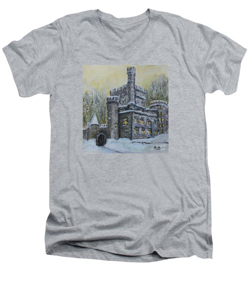Brandeis University Castle Men's V-Neck T-Shirt by Rita Brown