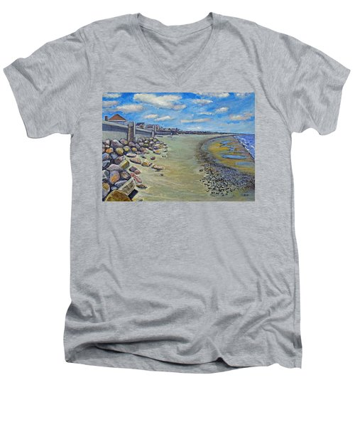 Brant Rock Beach Men's V-Neck T-Shirt by Rita Brown