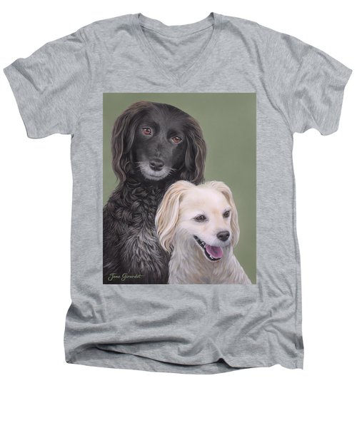 Men's V-Neck T-Shirt featuring the painting Brea And Randy by Jane Girardot