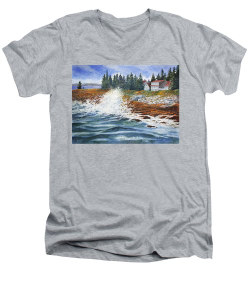 Breakers At Pemaquid Men's V-Neck T-Shirt
