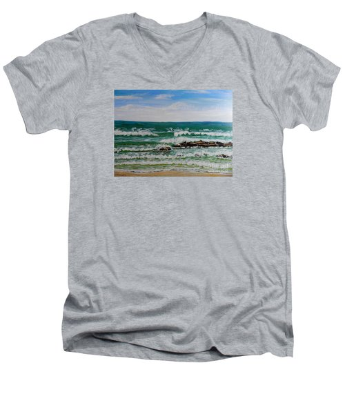 Breaking Waves Men's V-Neck T-Shirt by Pamela  Meredith