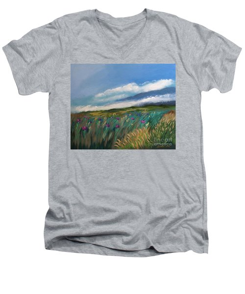 Breezy Day At Mauna Kea Men's V-Neck T-Shirt