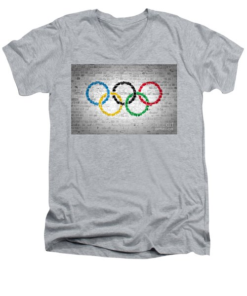 Brick Wall Olympic Movement Men's V-Neck T-Shirt