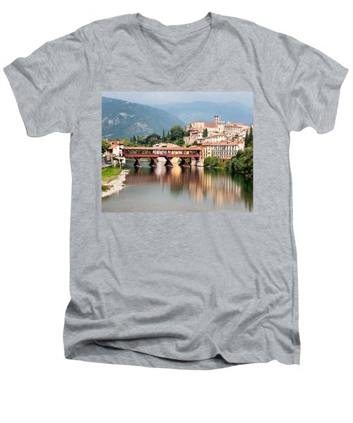 Bridge At Bassano Del Grappa Men's V-Neck T-Shirt by William Beuther