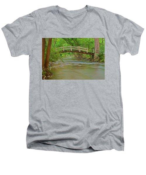 Bridge Over Valley Creek Men's V-Neck T-Shirt by Michael Porchik