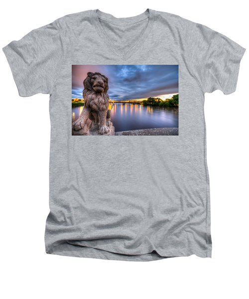Bridge To Czech Village In Cedar Rapids At Sunset Men's V-Neck T-Shirt