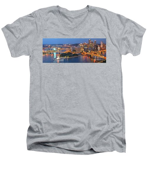 Bridge To The Pittsburgh Skyline Men's V-Neck T-Shirt