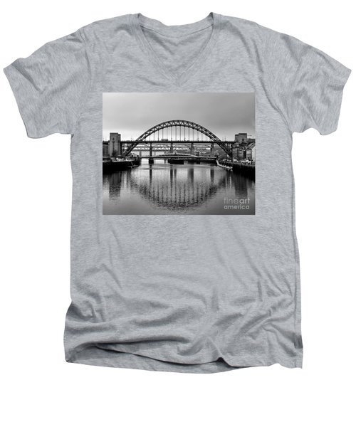 Bridges Over The River Tyne Men's V-Neck T-Shirt by Lynn Bolt