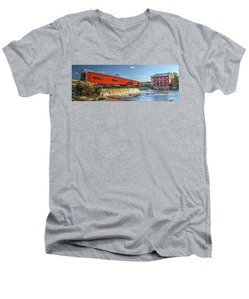 Men's V-Neck T-Shirt featuring the photograph Bridgeton Bridge And Mill by Harold Rau
