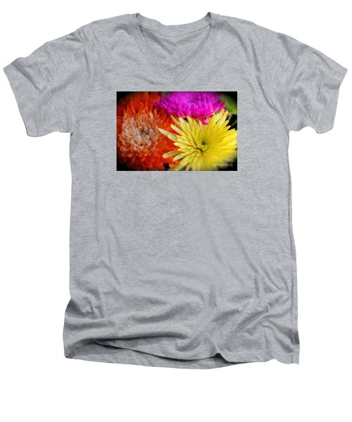 Bright Chrysanthemums Men's V-Neck T-Shirt by The Art of Alice Terrill