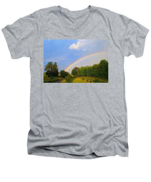 Men's V-Neck T-Shirt featuring the photograph Bright Rainbow by Kathryn Meyer