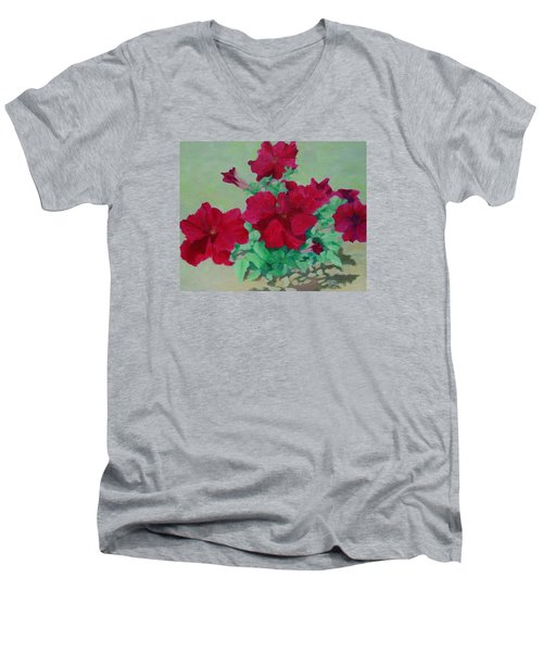 Red Flowers Art Brilliant Petunias Bright Floral  Men's V-Neck T-Shirt by Elizabeth Sawyer