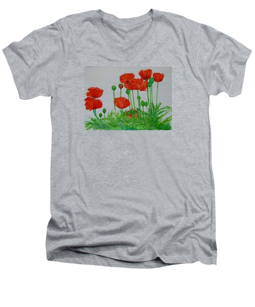 Red Poppies Colorful Flowers Original Art Painting Floral Garden Decor Artist K Joann Russell Men's V-Neck T-Shirt