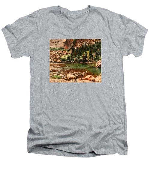 Broadwater Pond Men's V-Neck T-Shirt by Patti Gordon
