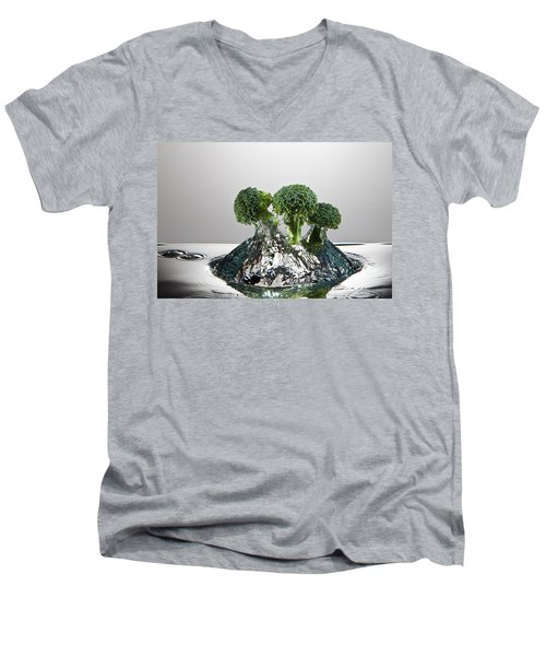 Broccoli Freshsplash Men's V-Neck T-Shirt by Steve Gadomski