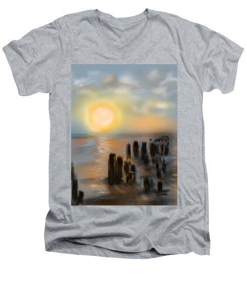 Men's V-Neck T-Shirt featuring the digital art Broken Dock by Christine Fournier
