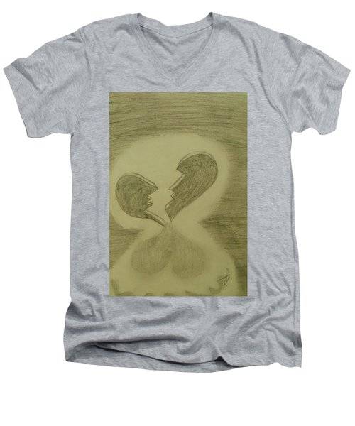 Men's V-Neck T-Shirt featuring the drawing Broken by Thomasina Durkay