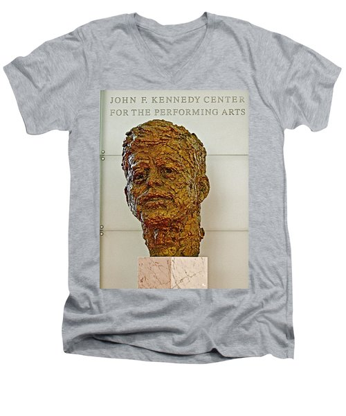 Bronze Sculpture Of President Kennedy In The Kennedy Center In Washington D C  Men's V-Neck T-Shirt by Ruth Hager