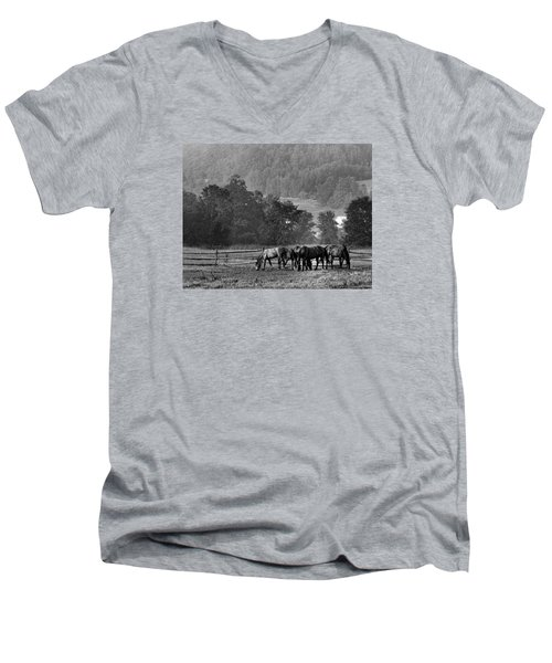 Men's V-Neck T-Shirt featuring the photograph Broodmares by Joan Davis