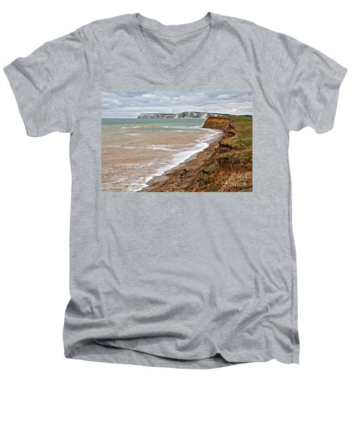 Brook Bay And Chalk Cliffs Men's V-Neck T-Shirt