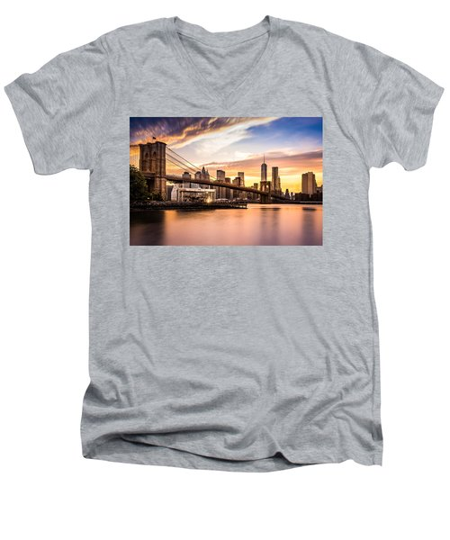 Brooklyn Bridge At Sunset  Men's V-Neck T-Shirt
