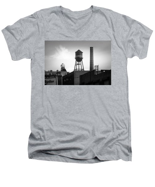 Men's V-Neck T-Shirt featuring the photograph Brooklyn Water Tower And Smokestack - Black And White Industrial Chic by Gary Heller
