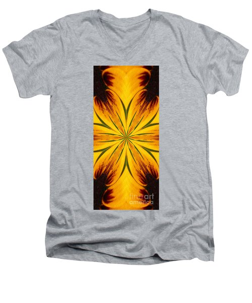Men's V-Neck T-Shirt featuring the digital art Brown And Yellow Abstract Shapes by Smilin Eyes  Treasures
