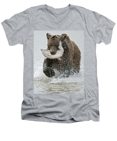 Brown Bear With Salmon Catch Men's V-Neck T-Shirt