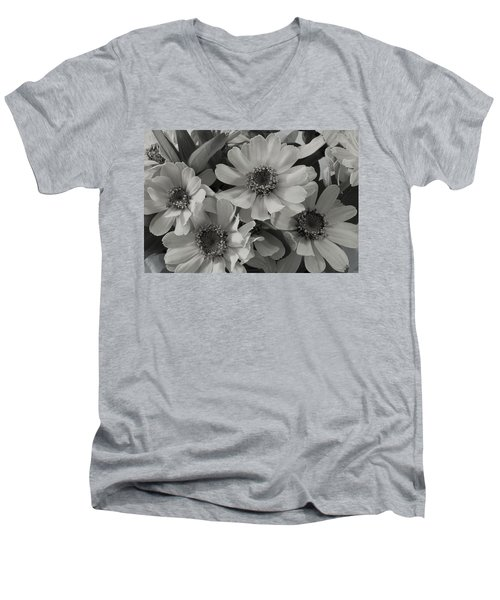 Men's V-Neck T-Shirt featuring the photograph Brown Eyed Susan Monochrome by Sandra Foster