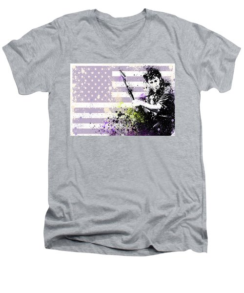 Bruce Springsteen Splats Men's V-Neck T-Shirt