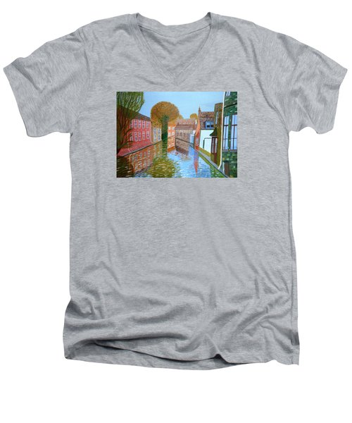 Men's V-Neck T-Shirt featuring the painting Brugge Canal by Magdalena Frohnsdorff
