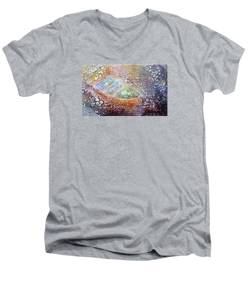 Men's V-Neck T-Shirt featuring the painting Bubble Boat by Kathleen Pio