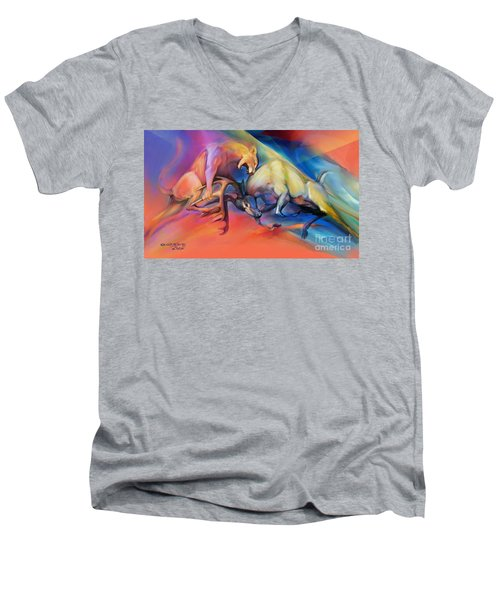 Men's V-Neck T-Shirt featuring the painting Buck Off by Rob Corsetti