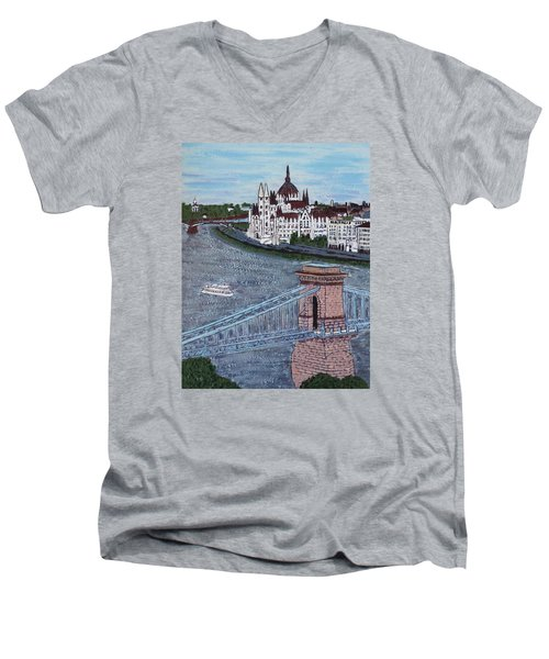 Men's V-Neck T-Shirt featuring the painting Budapest Bridge by Jasna Gopic
