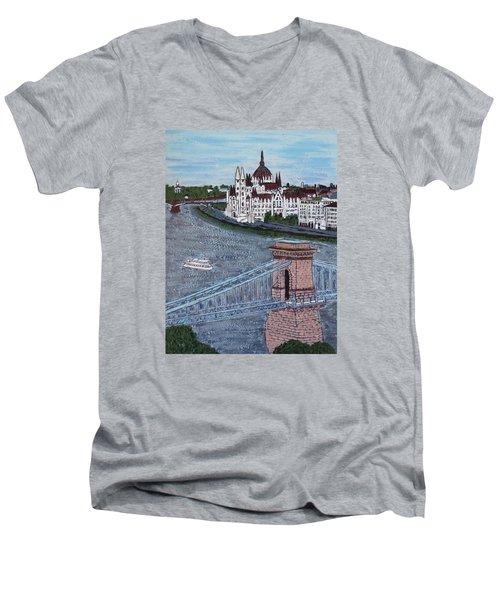 Budapest Bridge Men's V-Neck T-Shirt by Jasna Gopic