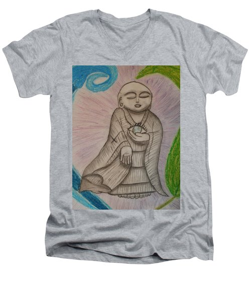 Men's V-Neck T-Shirt featuring the drawing Buddha And The Eye Of The World by Thomasina Durkay