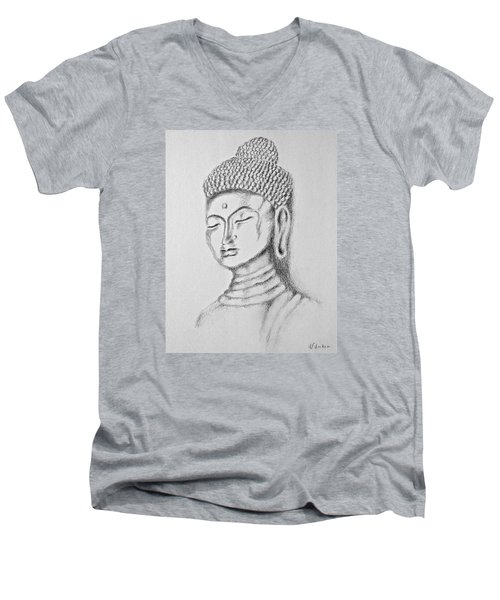 Men's V-Neck T-Shirt featuring the drawing Buddha Study by Victoria Lakes