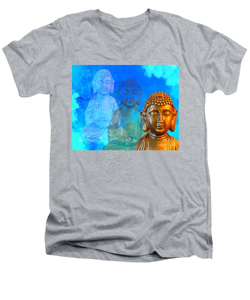 Men's V-Neck T-Shirt featuring the sculpture Buddha's Thoughts by Ginny Gaura