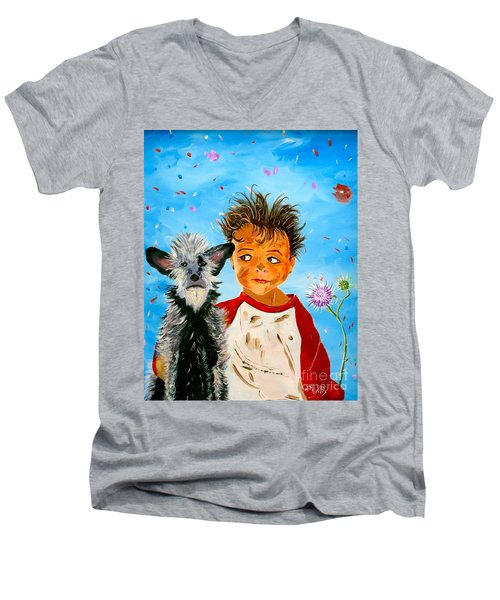 Men's V-Neck T-Shirt featuring the painting Buddies by Phyllis Kaltenbach