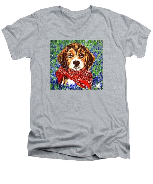 Buddy Dog Beagle Puppy Western Wildflowers Basset Hound  Men's V-Neck T-Shirt