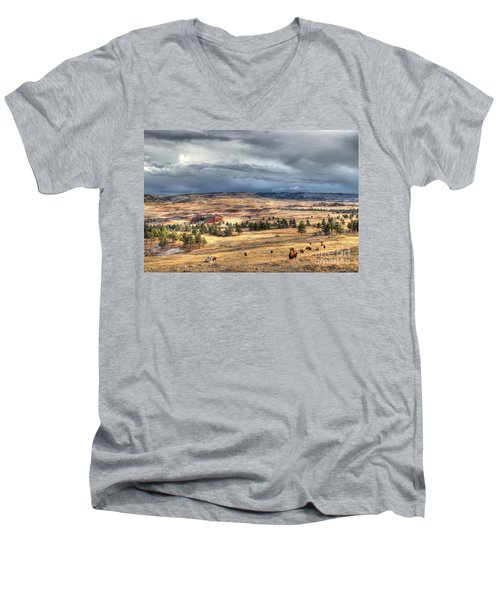 Buffalo Before The Storm Men's V-Neck T-Shirt