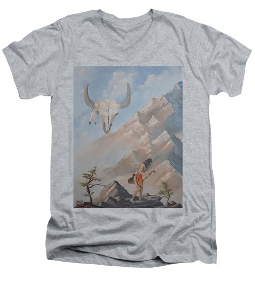 Men's V-Neck T-Shirt featuring the painting Buffalo Dancer by Richard Faulkner