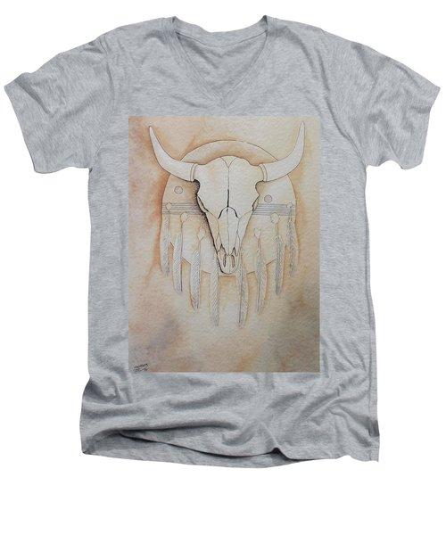 Buffalo Shield Men's V-Neck T-Shirt by Richard Faulkner