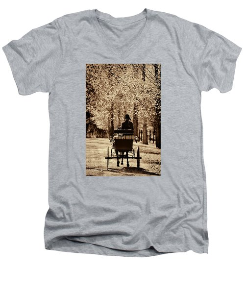 Men's V-Neck T-Shirt featuring the photograph Buggy Ride by Joan Davis