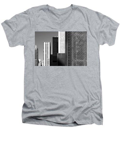 Building Blocks Black White Men's V-Neck T-Shirt