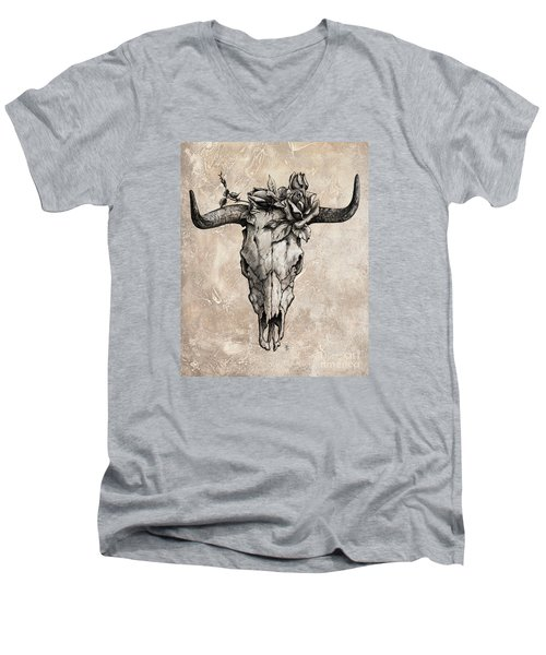 Bull Skull And Rose Men's V-Neck T-Shirt by Emerico Imre Toth